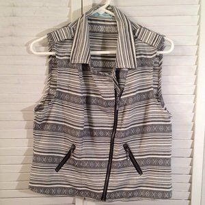 Maurices XL Grey Striped Zip-Front Vest Top